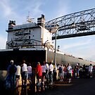 Ship Sailing Under The Lift Bridge by Elizabeth  Lilja
