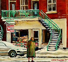 WALKING TO THE DEPANNEUR ON A SNOWY MORNING MONTREAL WINTER CITY PAINTINGS by Carole  Spandau
