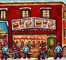 WINTER STREET HOCKEY GAME NEAR THE HOT DOG SPOT MONTREAL HOCKEY PAINTINGS by Carole  Spandau