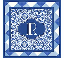Letter R Monogram in Indigo Patterns Photographic Print