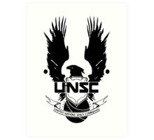 UNSC LOGO HALO 4 - CLEAN LOGO IN BLACK Art Print