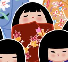 Kokeshi in Bloom Sticker