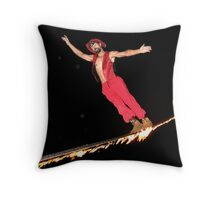 Tightrope in Red Throw Pillow
