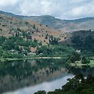Town end of Lake Grasmere from climb to Loughrigg fell Lake District England 198405200024 by Fred Mitchell