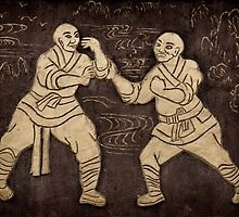 Shaolin monks artwork on a wall art photo print by ArtNudePhotos