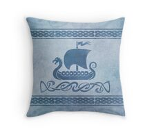 Dragon Boat - Blue Throw Pillow