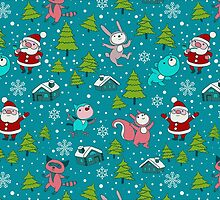 Christmas Forest Animals and Santa Pattern. Merry Christmas! by Kimazo