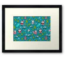 Christmas Forest Animals and Santa Pattern. Merry Christmas! Framed Print