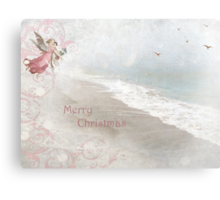 "Angels in Pink ""Merry Christmas"" ~ Greeting Card Canvas Print"