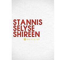 Stannis Baratheon Typography series II Photographic Print