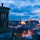 Dugald Stewart Monument & Edinburgh City by Chris Clark