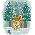 tiger in the snow by motymotymoty