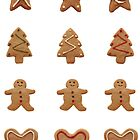 Assorted gingerbread envelope seals by Sally Kate Yeoman
