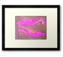 two pink shoes in pink Framed Print