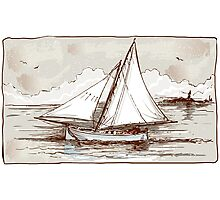 Vintage Sailing Ship on the Sea Photographic Print