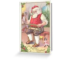 A Vintage Merry Christmas Santa Claus in his Workshop Greeting Card