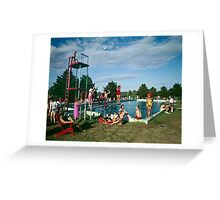 Grandview Hotel in Moodus Connecticut 1960's Outdoor Pool  Greeting Card
