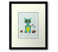 Cute Monster with Headless Teddy Framed Print