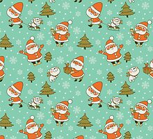 Santa and Teddy Bear Christmas Pattern. Merry Christmas! by Kimazo