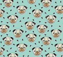 Pugs - Mint Background by Andrea Lauren by Andrea Lauren