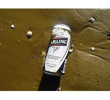 Lager can on beach Photographic Print
