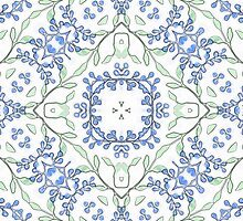 Blue Blossoms Print by red addiction