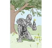 Robot smelling the flowers Photographic Print
