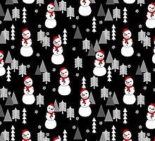 Happy Snowman - Black by Andrea Lauren