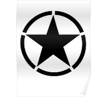 Army Star & Circle, Jeep, America, American, USA, in Black Poster