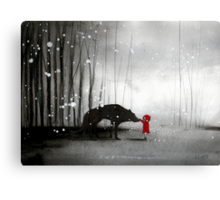 Little Red Riding Hood - The First Touch Canvas Print