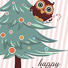 Cute Christmas candy cane owl happy holidays by BigMRanch