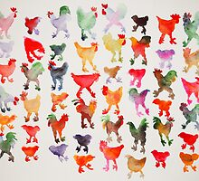 Tie Dye Chickens in Lines #1 by connieenglish