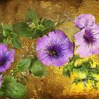 Petunias on gold by Gilberte