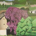 Rural Italian landscape painting by Melissa Goza