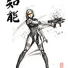 EDI from Mass Effect Universe sumi and watercolor style by Mycks