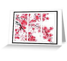 Cherry Blossom Tryptich Greeting Card