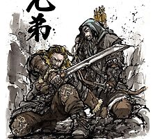 Kili and Fili from the Hobbit sumi ink and watercolor by Mycks