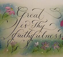 Great is Thy Faithfulness calligraphy art print by Melissa Goza