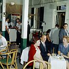 Couples having a drink at the patio lounge - 1950's by aladdincolor