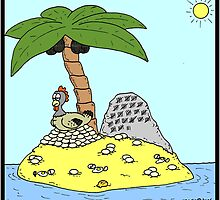 Hen on Deserted Island by Hagen