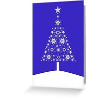 Christmas Tree Made Of Snowflakes On Purple Background Greeting Card