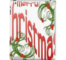 Merry Christmas With Stylized Holly With White Background iPad Case/Skin