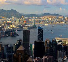 HK Panorama at Sunset IV - Hong Kong. by Tiffany Lenoir