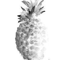 Pineapple watercolor painting art print, fruit kitchen decorations by Joanna Szmerdt