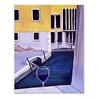 Yellow buildings canal wine glass art  by Melissa Goza