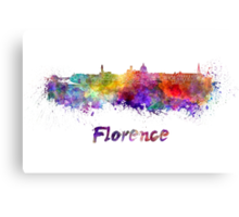 Florence skyline in watercolor Canvas Print
