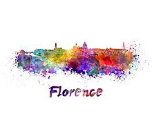 Florence skyline in watercolor Photographic Print