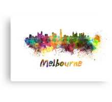 Melbourne skyline in watercolor Canvas Print