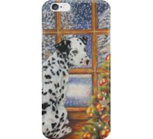 Christmas Dog Art - Dalmatian Puppy by the Christmas Tree iPhone Case/Skin