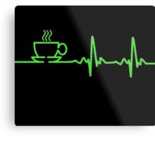 Morning Coffee Heartbeat EKG Metal Print